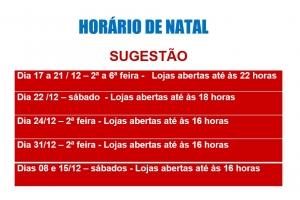 SUGESTÃO DO HORÁRIO ESPECIAL PARA O NATAL